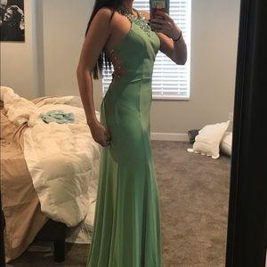Sage green jeweled prom dress